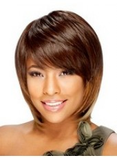 Bright Brown Short Fashion Bob Venation Hairstyle Capless Synthetic Top Quality Wig