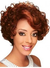 Impressive Short Bright Burgundy Sexy Wavy Mature Lady Hairstyle Lace Front Synthetic Wig