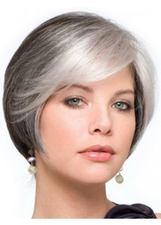 Latest Top Quality Short Sliver Straight Venation Hairstyle Capless Synthetic Popular Wig
