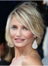 Custom Celebrity Cameron Diaz Hairstyle Short White Straight Venation Capless Synthetic Wig