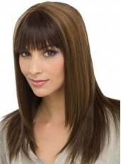 Custom Sweetheart Campus Style Long Two Color Straight Bangs Hairstyle Capless Synthetic Top Quality Wig