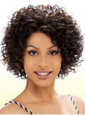 Unique Best Quality Short Heat Resistant Hair Charming Curly Hairstyle Lace Front Synthetic Wig About 12 Inches