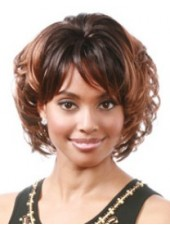 Custom Two Color Short Wavy Bouncy Hairstyle Capless Synthetic Mature Female Wig