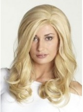 120% Synthetic Hair Density Elegant Sexy Long Golden Wavy Venation Hairstyle Lace Front Top Quality Wig About 22 Inches