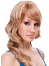 Unique Honorable Long Mixed Color Wavy Venation Hairstyle Swiss Lace Front Synthetic Wig About 20 Inches
