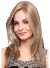 Custom Celebrity Mega Mono Long Blonde Wavy Bouncy Venation Hairstyle Lace Front Indian Human Hair Wig About 20 Inches