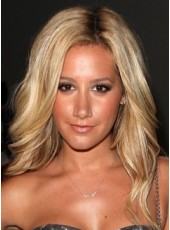 Custom Full Lace Indian Human Hair Celebrity Ashley Tisdale Long Elegant Golden Wavy Bouncy Hairstyle Top Quality Wig About 18 Inches