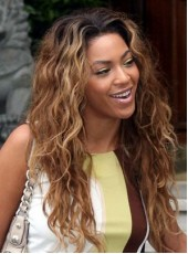100% Human Hair Celebrity Beyonce Elegant Brown Long Wavy Venation Hairstyle Top Quality Wig About 24 Inches