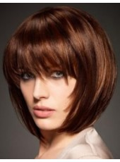 Custom Top Quality Short Dark Brown Full Bangs Bob Hairstyle Capless Synthetic Popular Wig About 10 Inches