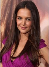 "100% Human Hair Celebrity Katie Holmes 22"" Long Dark Brown Straight Hairstyle Lace Wigs"