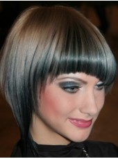 Latest Short Sliver Black Bob Hairstyle Capless Synthetic Popular Wig About 8 Inches