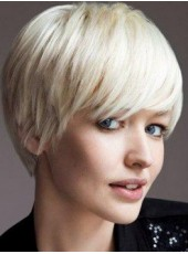 Impressive Top Quality Short White Straight Venation Oblique Bangs Hairstyle Capless Synthetic Wig About 10 Inches