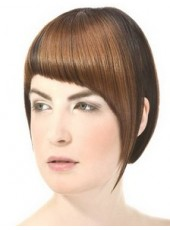 Fashion Trendy Bright Brown Short Side Long Bangs Bob Hairstyle Capless Synthetic Popular Top Quality Wig