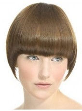 Custom Top Quality Short Light Coffee Regularity Bangs Bob Hairstyle Capless Synthetic Popular Wig About 8 Inches