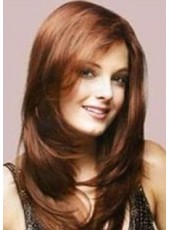 Fashion Trendy Long Polish Brown Elegant Wavy Bouncy Hairstyle Lace Front Heat Resistant Wig About 20 Inches