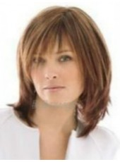 Impressive Top Quality Medium Shoulder Brown Layered Straight Hairstyle Capless Synthetic Popular Wig About 14 Inches