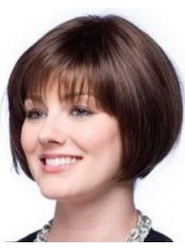 Custom 100% Top Quality Synthetic Hair Short Dark Brown Bob Hairstyle Capless Popular Wig About 8 Inches