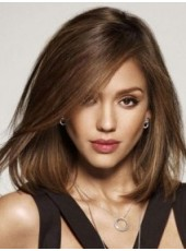 Impressive Celebrity Jessica Alba Medium Shoulder Elegant Straight Oblique Bangs Hairstyle Lace Front Wig About 14 Inches