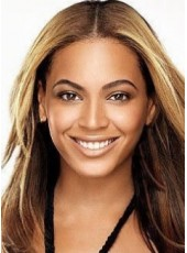 Sexy Beyonce's 100% Remy Human Hair Long Straight Brown Celebrity Lace Wig about 18 Inches