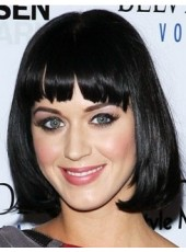 Katy Parry Cute Hairstyle Medium Straight Black Natural Bob Synthetic Wig About 14 Inches