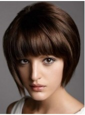 Charming Regularity Bangs Bob Hairstyle Capless Straight Synthetic Hair Wigs About 8 Inches