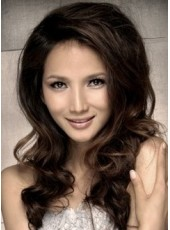 Sexy High Quality Long Wavy Brown Celebrity Lace Front Wig about 22 Inches