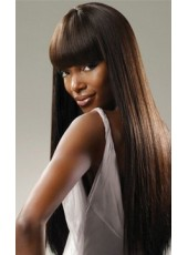 Super Smooth Fashion Goddess Long Straight Black African American Hair Wigs About 22 Inches