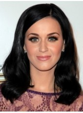 Top Sale Glamour Hairstyle Wavy Natural Black Popular Lace Front Wig About 18 Inches