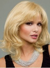 Latest Golden Medium Wavy Oblique Bangs Venation Hairstyle Top Quality Human Hair Wig About 14 Inches