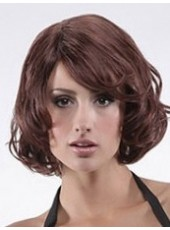Custom Dark Brown Medium Charming Wavy Side Bangs Venation Hairstyle Lace Front Synthetic Popular Wig About 12 Inches