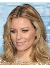 100% Human Hair Elizabeth Banks Medium Ombre Loose Wave Hairstyle Monofilament Top Lace Wigs