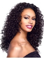 Newest Pure Black Elegant Long Curly Hand Made Glueless Lace African American Human Hair Top Quality Wig About 20 Inches