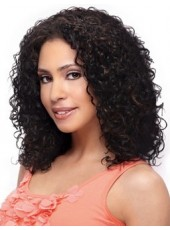 Sweetheart Natural Black Medium Shoulder Charming Curly Hand Made Lace Front African American Synthetic Hair Wig About 16 Inches