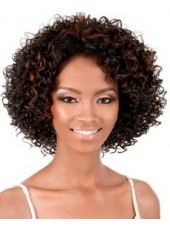 African American Heat Resistant Hair Short Charming Curly Layered Hairstyle Glueless Lace Front Top Quality Wig About 12 Inches