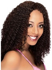 Impressive Hand Made Glueless Lace Pure Black Long Submissive Curly African American Human Hair Wig About 18 Inches