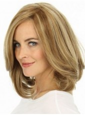 Medium Shoulder Mixed Color Wavy Bouncy Venation Hairstyle Swiss Lace Front Wig About 16 Inches