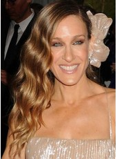 Jessica Parker Full Lace Ombre Color Long Body Wave Side Bangs Hairstyle Human Hair Wigs