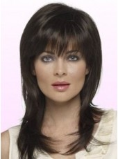 Custom Pure Black African American Human Hair Long Layered Straight Capless Top Quality Wig About 20 Inches