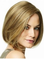 High Quality Short Straight 100% Indian Remy Blonde Lace Front Wig About 10 Inches