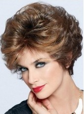 High Quality Joan Collins Hairstyle Layered Blonde Short Full Lace Wig About 8 Inches