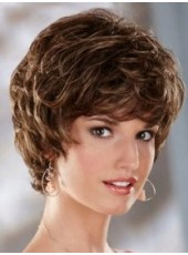 Custom Polish Brown Short Wavy Bouncy Venation Hairstyle Capless Synthetic Charming Wig
