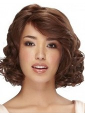 120% Synthetic Hair Density Medium Polish Brown Wavy Venation Oblique Bangs Hairstyle Wig
