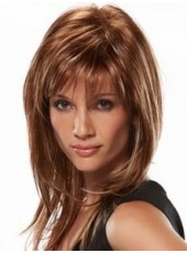 Custom Polish Brown Synthetic Hair Sexy Long Straight Capless Top Quality Wig About 22 Inches