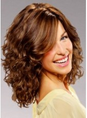 Sweetheart Medium Elegant Brown Wavy Swiss Lace Front Human Hair Wig About 16 Inches