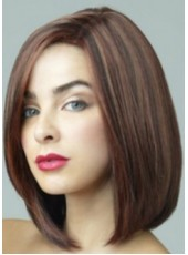 Newest Medium Dark Brown Straight Venation Hairstyle Lace Front Indian Human Hair Wig About 14 Inches