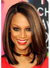 African American Human Hair Straight Hairstyle Lace Front Wigs About 16 Inches
