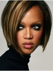 Tyra Banks Chic Hairstyle Short Straight Mixed Color Capless Wigs