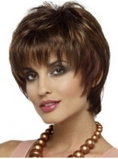 Chic Medium Straight  Capless Short Synthetic Wigs About 8 Inches