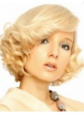 Chic  Short Curly Blonde Top Quality Synthetic Lace Front Hair Wig About  10 Inches