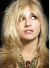 Charming Wavy Blonde Hairstyle Synthetic Lace Front Wigs About 18 Inches